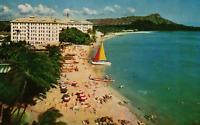 VINTAGE POSTCARD THE MOANA HOTEL ON WAIKIKI BEACH HONOLULU HAWAII