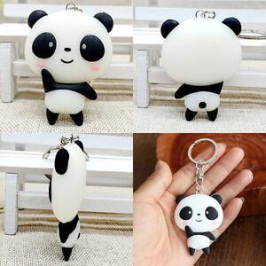 1X Silicone Cartoon Panda Keychain Kawaii Pendant Key Ring Chain Keyring Bag