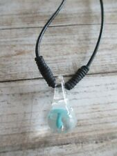 Light Blue Mushroom Necklace - Blown Glass Pendant on black faux leather cord