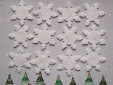 12 WHITE DIE CUT SNOWFLAKES - BUNTING/APPLIQUE/CHRISTMAS CRAFTS