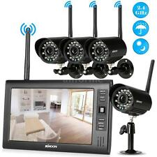"Wireless 2.4GHz CCTV Kit 4x IR Night View Security Camera IP66 +7""LCD EU G8X6"