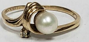 10k Yellow Gold Fine Cultured Pearl Swirl Diamond Accent Size 6 Ring Estate NICE