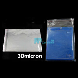 50 100 200 DVD OPP Plastic Bag Wrap plastic Sleeves Resealable 25 micron Clear X