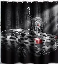 Manchas de Leopardo en Sport Car Baño Cortina de ducha Ganchos de poliéster