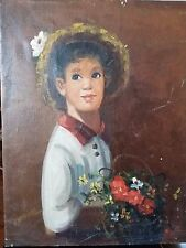 Vintage Original Oil On Canvas Painting Of Boy With Big Eyes, Signed Williams