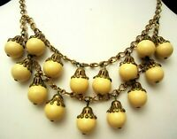 "Rare Vintage 16"" Signed Miriam Haskell Brass Yellow Glass Dangle Necklace A54"