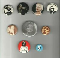 9 pinback Marilyn Monroe pin buttons