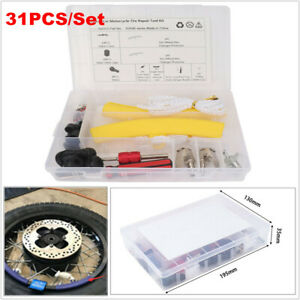 31PCS Car Motorcycle Tire Repair Kit Inflation Chuck Valve Core Replace Tool Box