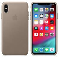 Genuine / Original Apple iPhone XS Max Leather Case - Taupe Grey - New