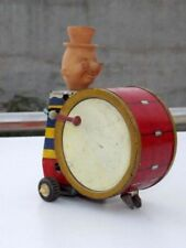 Vintage Tin Wind Up Circus Toy Old Man Playing Drum Tin Toy Collectible