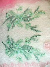 "Embroidered 3D Dance Appliques Seafoam Floral Mirror Pair 13"" (DH76)"