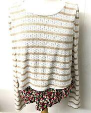 Women's 9-HI5 Size Lg Layered Tan/White Sweater Multi Color Floral Shirt C10-25