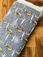 Fox 🦊 Gray Night Fabric Sold By The Meter 100% Cotton FREE P&P