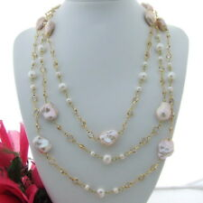 "FC110202 69"" Pink Keshi Pearl White Crystal Chain Necklace"
