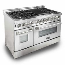 Zline 48 Inch Professional 7 Gas Burner Electric Oven Range, Stainless Steel