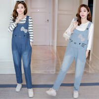 Cute Cat Maternity Dungarees Jeans Trousers Denim Jumpsuits Comfy 8 10 12 14 16