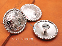 10X Bright Silver Flower Engraved Leathercraft Belt Wallet Saddle Concho Decor