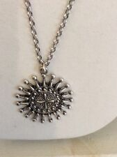 medallion disk Necklace $45 #Y122a Lucky antique siver tone Tribal Sun