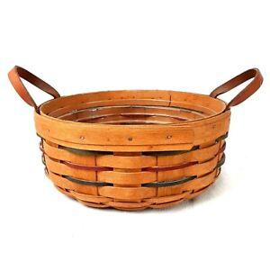 Longaberger Round Basket w/ Protective Plastic Insert, Handwoven, Dresden Ohio