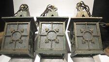 Lot: 3 Bronze Antique Arts & Crafts Gothic Quatrefoil Hanging Lanterns