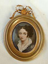 portrait miniature émaillé jeune femme par Mathieu DEROCHE (1837-19..) ref 364P