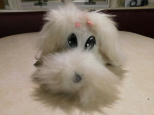 Pound Puppies JAKKS Barking Sound White Fluffy Puppy plush w dog tag Pink Bows