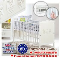 LUXURY Baby COT / Cot bed WOODEN BED MARSELL + Option MATTRESS  and STORAGE NEW