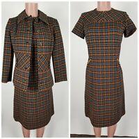 Carillon Saks Fifth Avenue Orange Black Knit Dress Size 10 Vtg 1960's ILGWU Made