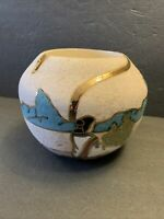 Gina Arrighetti 22K Gold Ceramic Vase Pot NM, Southwestern Native American