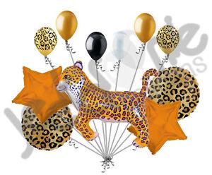 11 pc Leopard Animal Balloon Bouquet Happy Birthday Jungle Safari Circus Party