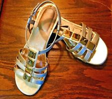 """GOLD SANDALS, """"CONNIE"""" SIZE 8, ROMAN STYLE LT. WEAR, VERY CUTE!"""