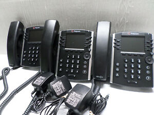Lot of 3 POLYCOM 2201-48450-001 Polycom VVX411 Desktop IP Gigabit Phone w/ power