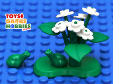 *New* Lego Custom Lily Pad with 2 Frogs White Flowers Leaves Stems Lilypad Toad