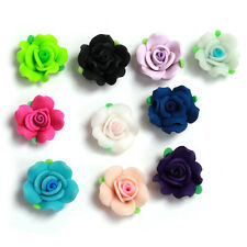 18xHotsell Mixed 6 Color Rose Flower With Leaf FIMO Polymer Clay Spacer Beads L