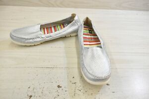 SAS Sunny Slip On Comfort Shoes, Women's Size 12 N, Silver MSRP $140.95
