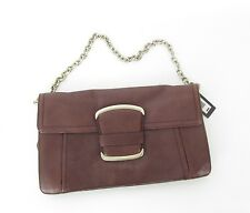 NEW $98 Banana Republic Leather Clutch Magnetic Handbag Cordovan Chain Purse