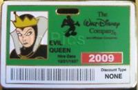Disney Pin 72282 DEC Evil Queen Cast Employee I.D. Badge Green Villain LE 300