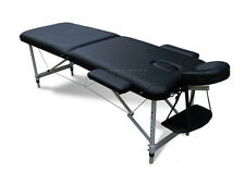 Black Portable Massage Table Bed Beauty Therapy Couch 2 Section ALU + Cover Bag
