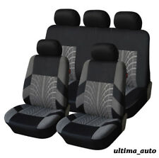 9 PCS FULL GREY-BLACK FABRIC CAR SEAT COVERS SET UNIVERSAL WASHABLE IN BAG