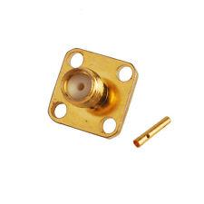 "SMA Jack female panel mount 4-hole connector solder semi-rigid cable .141"" RG402"