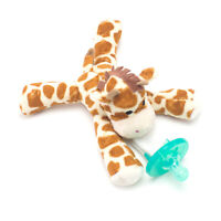 Giraffe Plush Pacifier Holder Clip & Silicone Infant Baby Paci Binky Gift Set