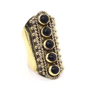 Black Onyx Natural Gemstone Jewelry Christmas Brass Ring Adjustable K266