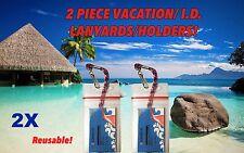 2 RED WHITE & BLUE NORWEGIAN CRUISE LINES I.D. HOLDERS & LANYARDS ZIP LOCKED NEW