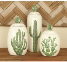Set of 3 Cactus Jars, Textured Ceramic Canisters ~ Southwest Desert Accent Decor
