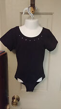 Girls 6 6X Black Cotton Blend Short Sleeves Gymnastic Dance Leotard wRhinestones
