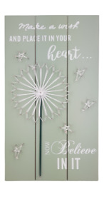 Green wooden wall plaque string art - Make a wish and place it in your heart..