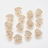 5pcs Brass Micro Pave Cubic Zirconia Heart Pendants Mini Charms Craft 13.3x12mm