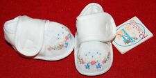 Hand Embroidered Smocked Rosalina DOLL Shoes 69mm White Baby Crib NEW Beautiful!