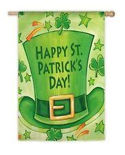 "Happy St Patrick'S Day Leprechaun Hat Shamrocks Large House Flag 29"" X 43"""