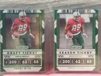 JERRY RICE 2020 CONTENDERS DRAFT PICKS SEASON TICKET & GREEN FOIL PARALLEL SP 2X